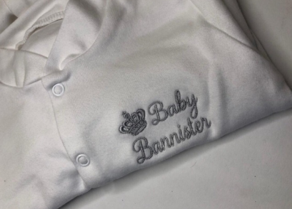 Crown Embroided Baby Grow