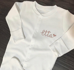 Personalised White Baby Grow (Rose Gold)