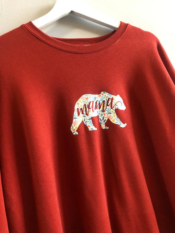 Burnt Orange Floral Mama Bear Jumper