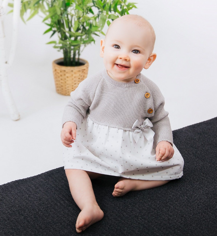 Dandelion Knitted Baby Dress (Polka Dot)