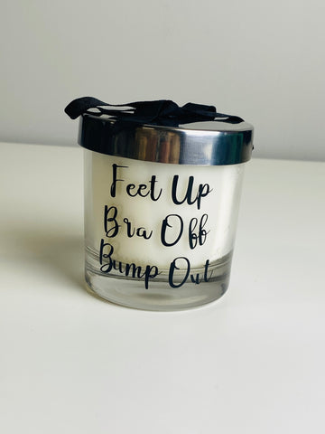 Feet up bra off bump out candle