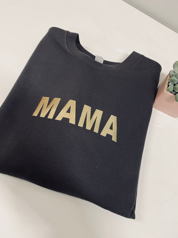 Mama charcoal & gold jumper