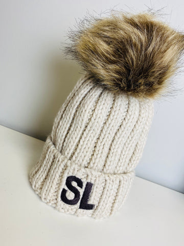 PERSONALISED SINGLE FAUX FUR POMPOM HAT