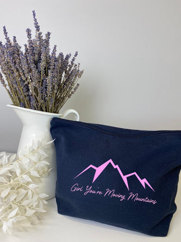 Girl your moving mountains make up bag