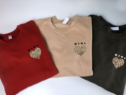 Mama Leopard Heart Jumper (Autumn Colours)