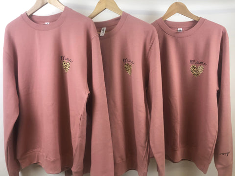 Dusty Pink Small Leopard Heart Mama Jumper