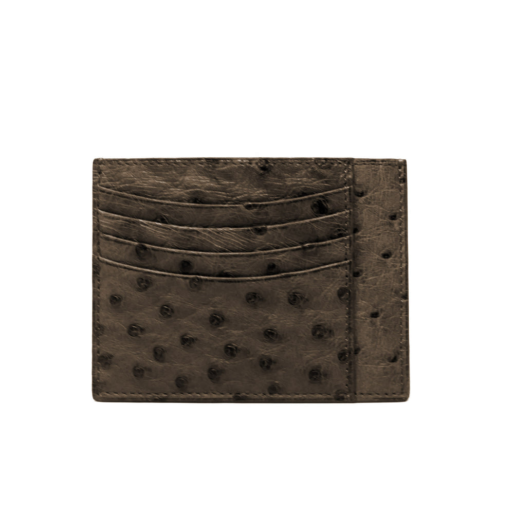 Credit Card Holder - Real Ostrich - Brown