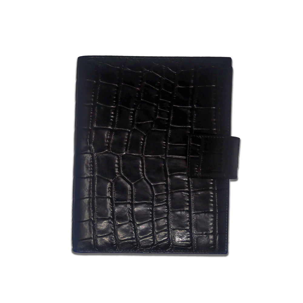 Agenda Large - Black Crocodile Print