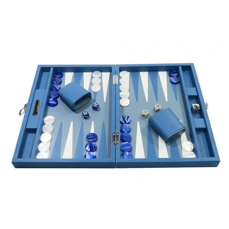 Backgammon - Buffalo Leather Light Blue