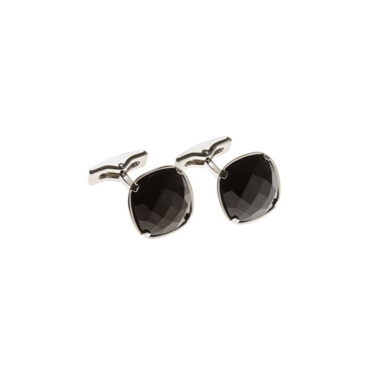 Cufflinks - Palladium & Black Stone