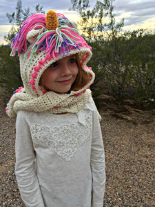 Unicorn Hooded Scarf Crochet PATTERN