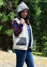 Load image into Gallery viewer, Hooded Sweater Vest Crochet Pattern