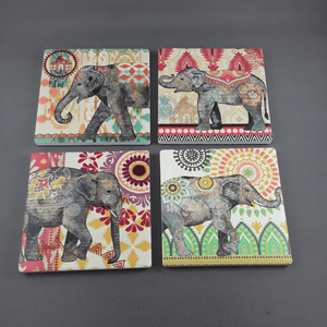 Set of 4 elephant coasters - Birdie's Nest Inc