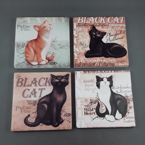 Set of 4 cat coasters - Birdie's Nest Inc