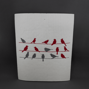 Swedish dish cloths | Red & grey birds - Birdie's Nest Inc