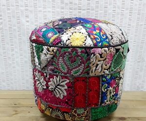 Black multi colour stool - Birdie's Nest Inc