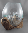 Gamal root base with glass vase - Birdie's Nest Inc