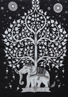 India wall hanging | black & white elephant tree - Birdie's Nest Inc