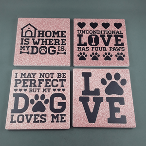 Set of 4 dog coasters - Birdie's Nest Inc