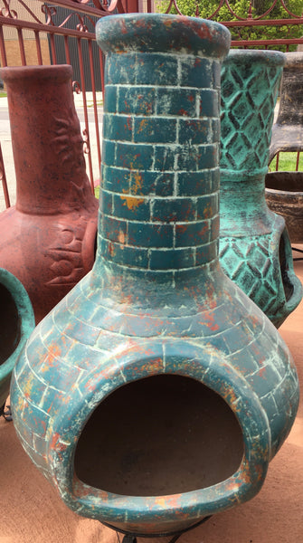 Brick Design Chimney Clay Chiminea