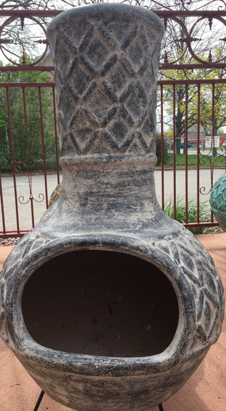 Criss Cross Clay Chiminea