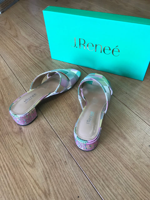 Size 7.5 SHOES J. Renee Cindee pastel mules jeweled heels  NIB