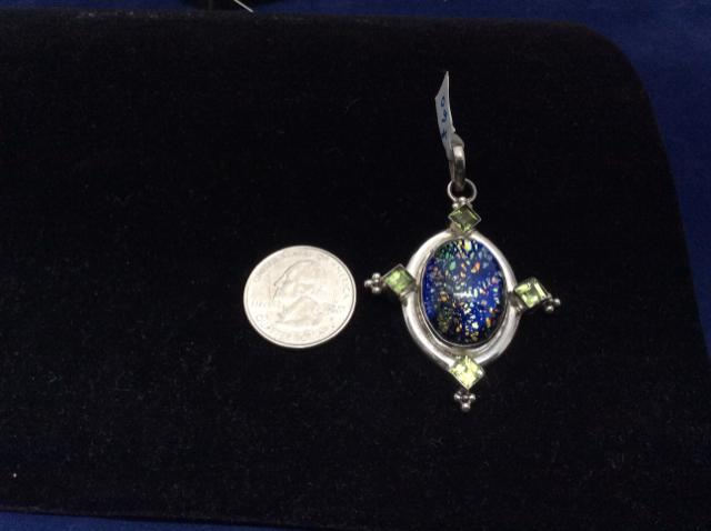 Vintage PENDANT 925 sterling silver multi colorstone w Peridot accent 7412-1402 - Ragtime Consignment Boutique