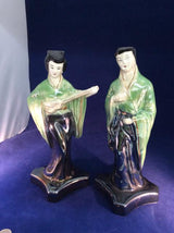Antique Asian Guitar Musicans ceramic figurines in green & black - Ragtime Consignment Boutique