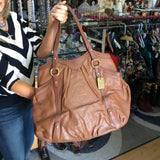 Ralph Lauren 67 tote shoulderbag in brown embossed leather
