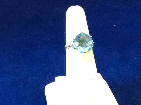 Sterling Silver Blue Agate cushion cut stone  Ring - Ragtime Consignment Boutique