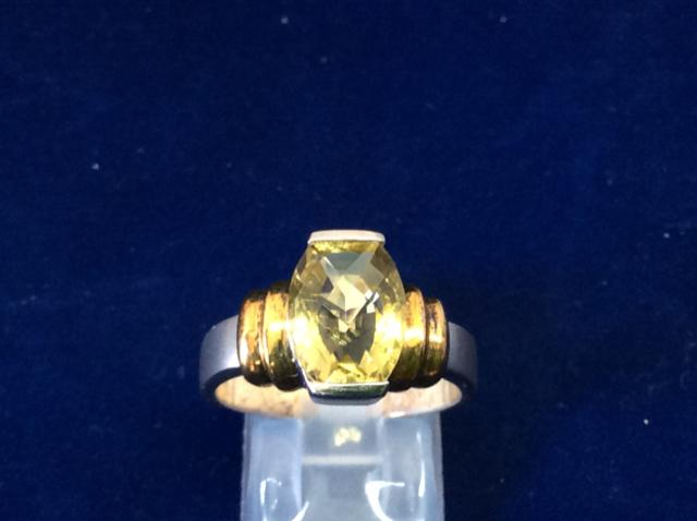 Ladies ring 925 Sterling Silver with Rhodium and Gold Plate - Ragtime Consignment Boutique