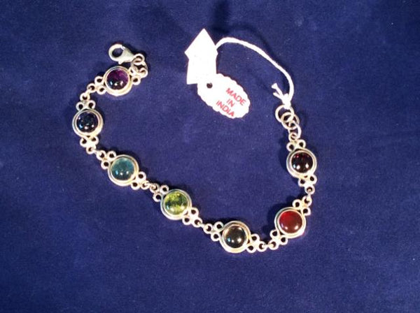 BRACELET 925 Sterling Silver bracelet with multi color  semi precious stones Vin - Ragtime Consignment Boutique