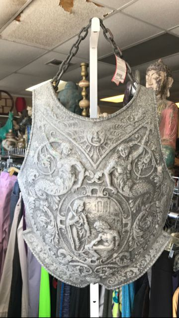 Vintage Extremely Rare 69 Original Design Ornate Cast Aluminum Breastplate