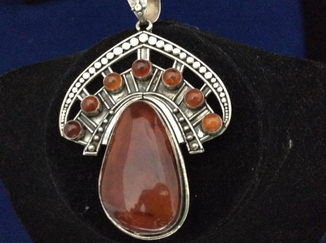 "PENDANT large Amber pendant in 925 sterling silver. 2' by 3""  7412-1404 - Ragtime Consignment Boutique"