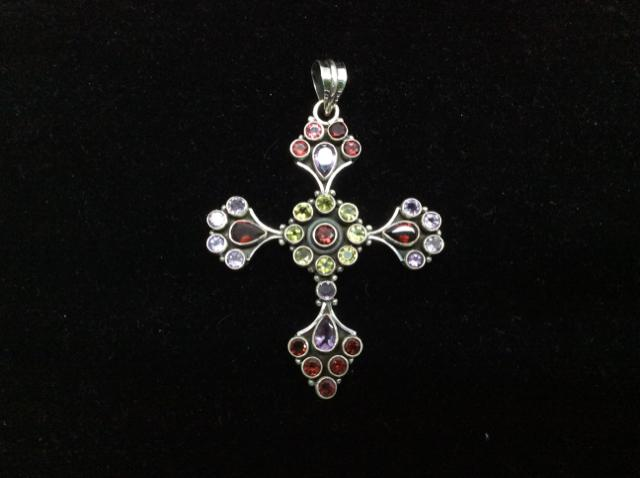 Vintage 925  Sterling Silver Genuine Garnet, Peridot, Amethyst Pendant 1834 - Ragtime Consignment Boutique