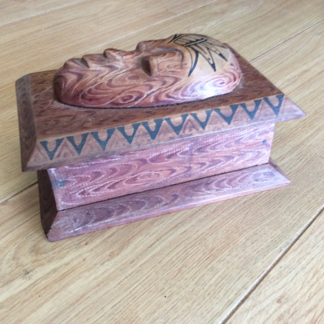 Size Medium jewelry box of wood Native design hand painted vintage