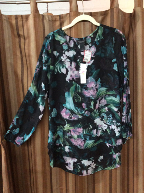 Size PS Ladies Investments black floral print pullover top NWT