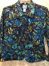 Size Small  Lara Lane blue  w collar floral