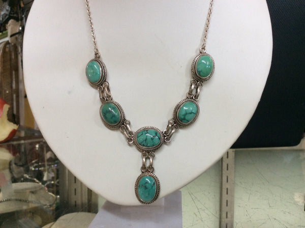 "925 Sterling Silver womens 19"" Turquoise Necklace 7412-1808"