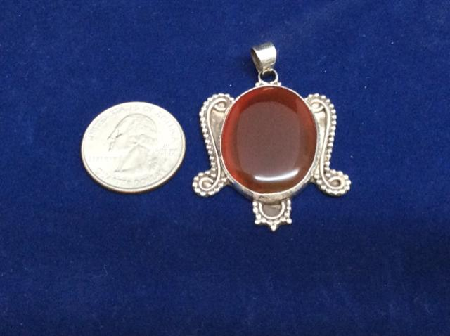 Pendant  925 Sterling Silver Carnelian Pendant vintage artisan made - Ragtime Consignment Boutique