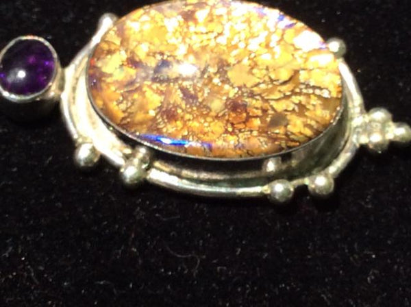 Vintage 925 Sterling Silver Pentant w cabochon Baltic Amber stone 7412-1393 - Ragtime Consignment Boutique