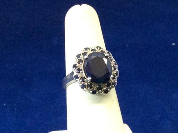 Ladies 925 Silver dark blue Ring - Ragtime Consignment Boutique