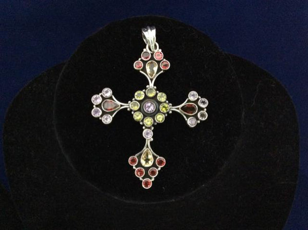 925 Sterling Silver Pendant Genuine Garnet, Peridot, Amethyst Artisan vintage - Ragtime Consignment Boutique