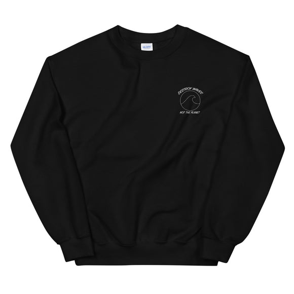 Destroy Waves, Not The Planet Pocket Logo Crewneck