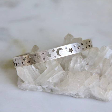 Moon and Stars, Crescent Bangle Bracelet - Silver