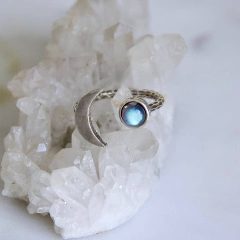 Crescent Moon Ring - Labradorite