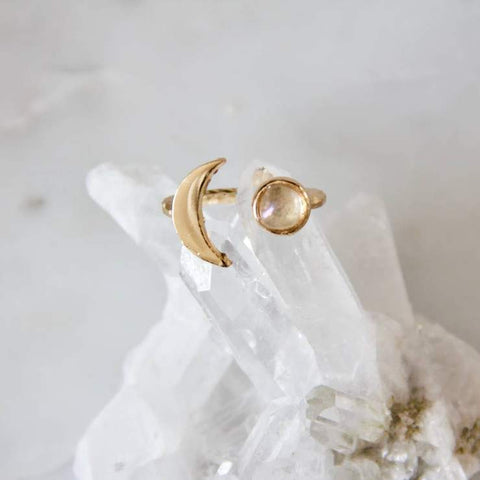 Crescent Moon Ring - Moonstone