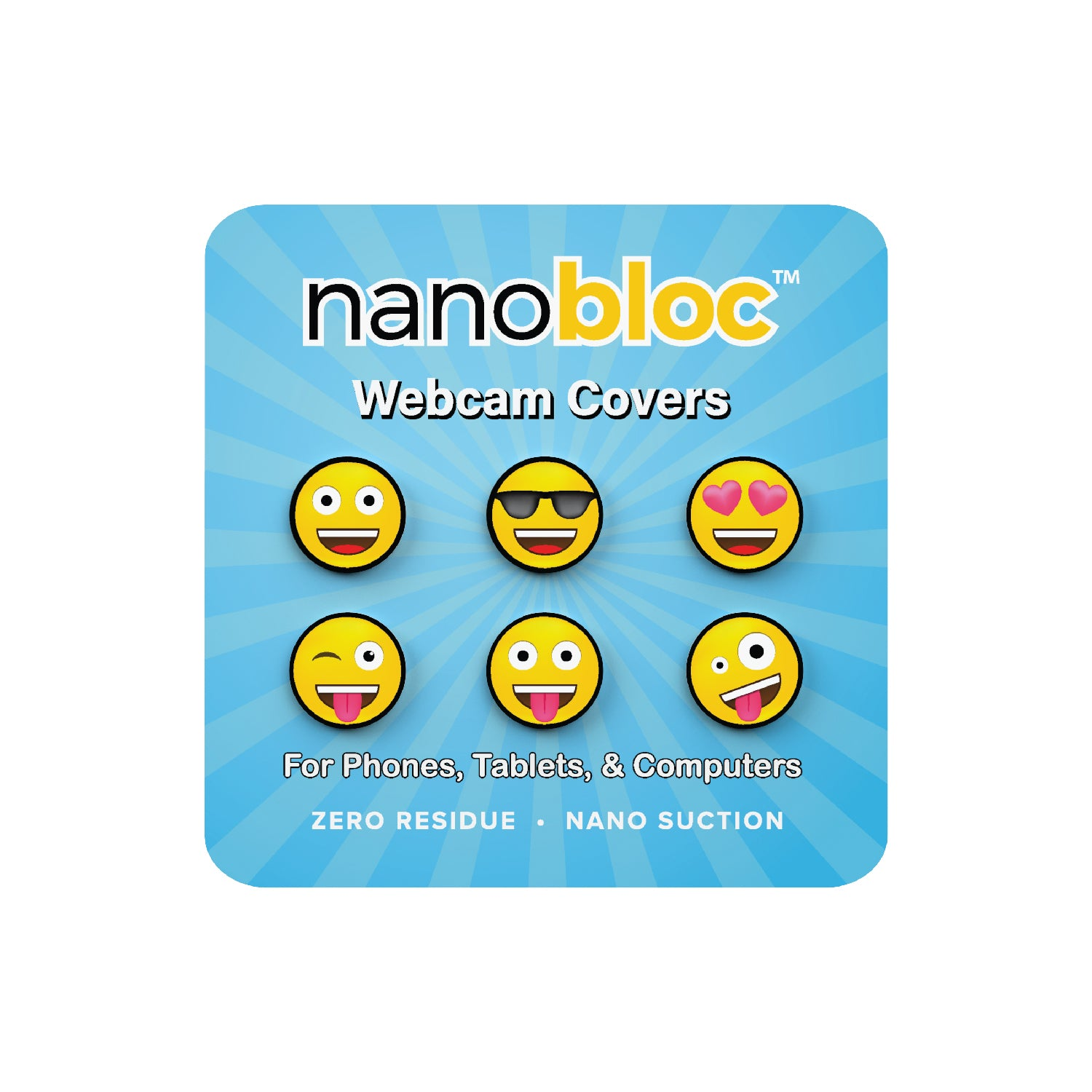 Nanobloc Universal Webcam Cover - Emoji Fun Pack