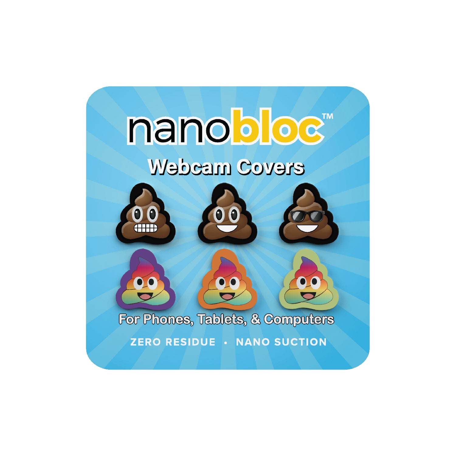 Nanobloc Universal Webcam Cover - Emoji Poop Pack