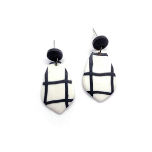 Grid Black - earpartyph ear party ph polymer clay earrings philippines